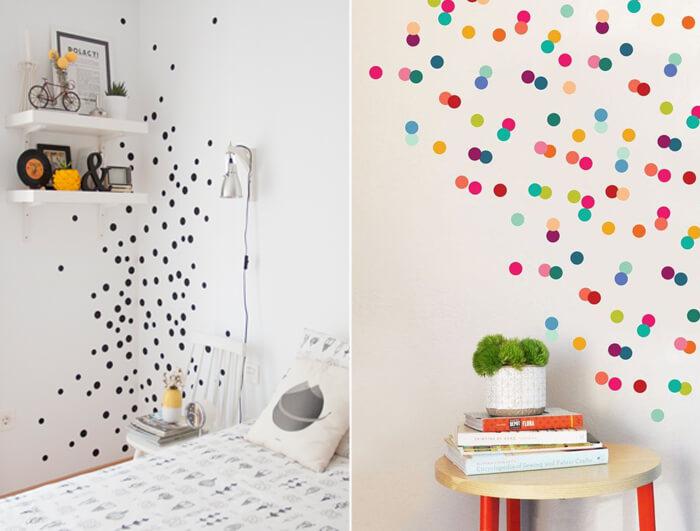 decorare pareti camera bimbi con pois di diverso colore
