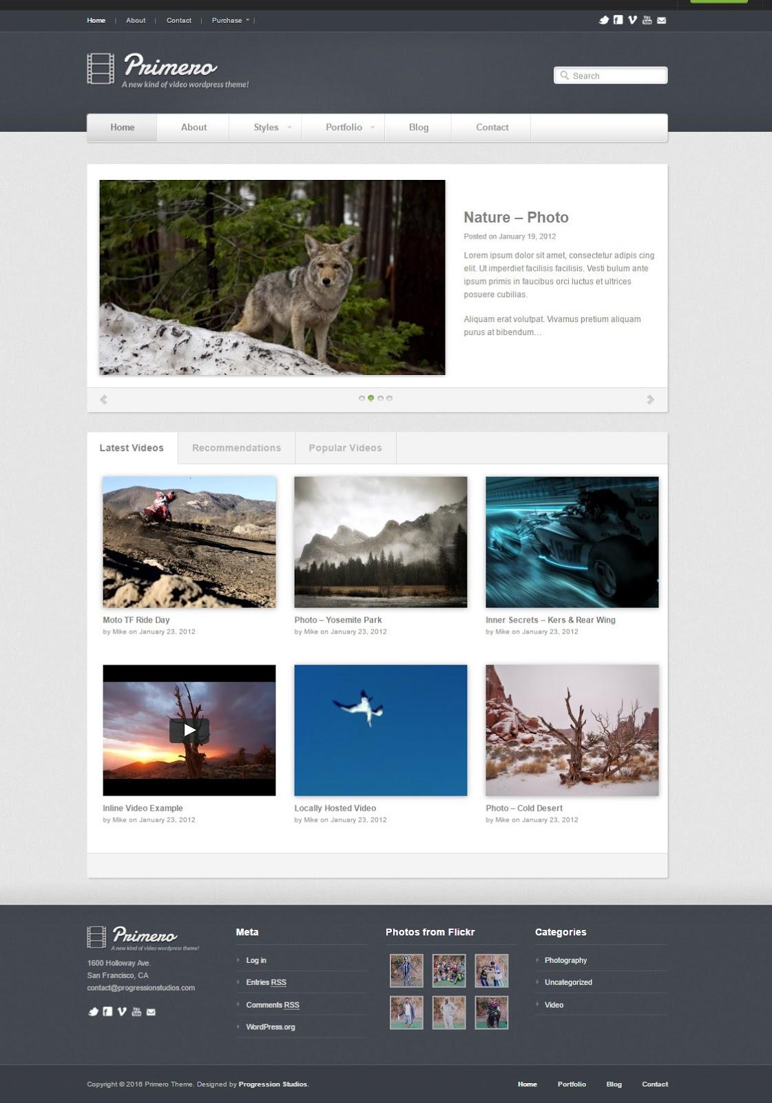 Primero wordpress video theme