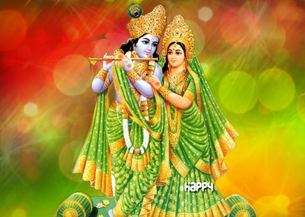 krishna radha oil painting picture orange & green