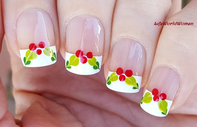 Life World Women Mistletoe Christmas French Manicure