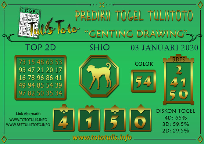Prediksi Togel GENTING DRAWING TULISTOTO 03 JANUARI 2020