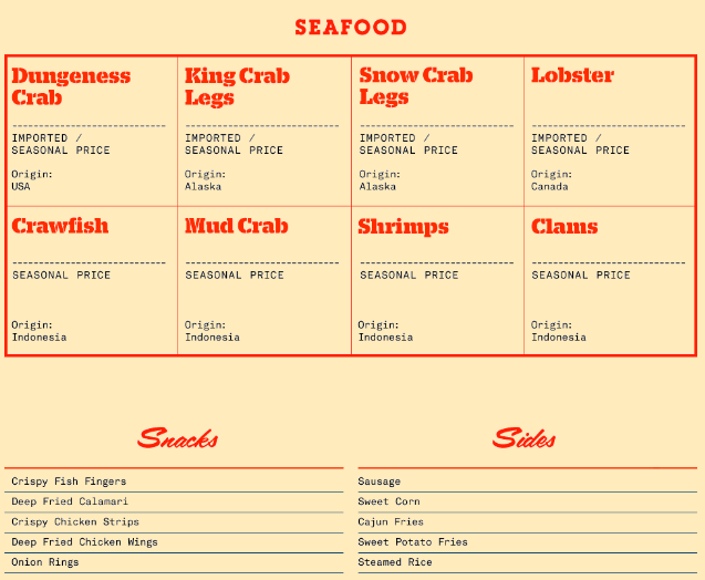 Daftar Menu Holy Crab