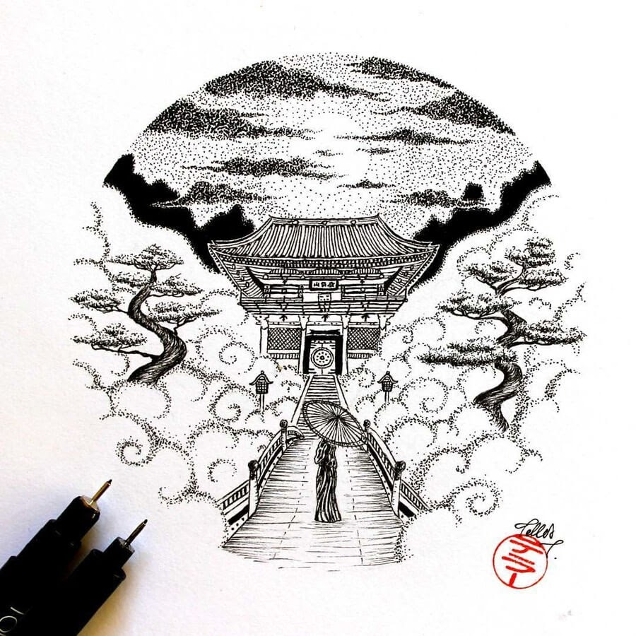 12-Japanese-Landscape-Tímea-Tellér-Ink-Black-and-White-Illustrations-www-designstack-co