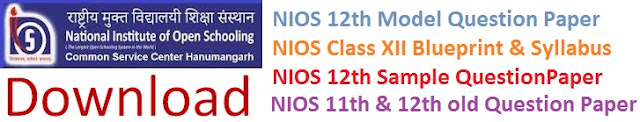NIOS 11th & 12th (Sr Secondary) Model Question Papers 2017 Blueprint