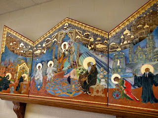 artwork in the dining room at Assumption Abbey, Richardton, ND
