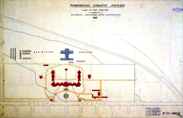 Provincial Lunatic Asylum Plan of the Grounds Showing the Buildings, Drainage, and Approaches, 1863 by Kivas Tully