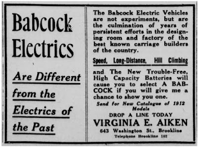 1912 ad for Virginia Aiken's Babcock Electrics
