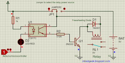 Connecting relay to a microcontroller using Optocouplers, Low Side