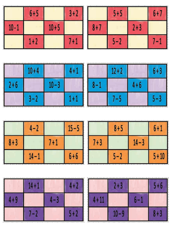 cartones con sumas y restas