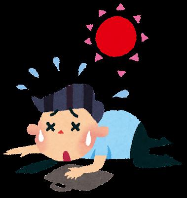 夏バテのイラスト「倒れるサラリーマン」
