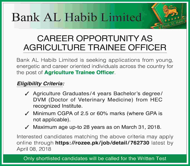 Agriculture Trainee Officers Jobs in Bank AL Habib 2018