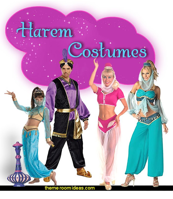 Harem Costumes  I Dream of Jeannie theme bedrooms - Moroccan style decorating - Jeannie bedroom harem style - Arabian Nights theme bedrooms - bed canopy - Moroccan stencils - I dream of Jeannie bottle - satin bedding - throw pillows - Moroccan furniture - Aladdin bedroom ideas - Arabian princess costume -  Harem Costumes