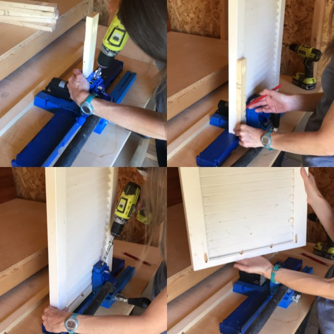 drilling pocket holes, into shutters and aprons and supports