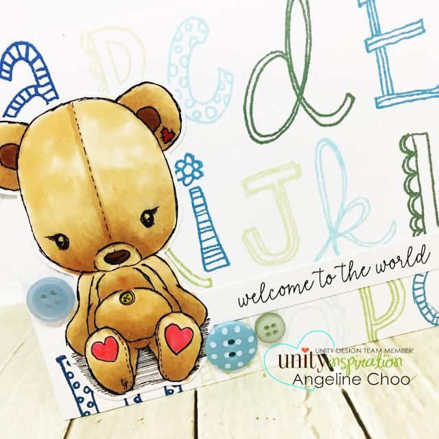 ScrappyScrappy: April Unity Stamp Blog Hop - Cuddlebug Teddybear #scrappyscrappy #unitystampco #cuddlebug #youtube #quicktipvideo #video #card #cardmaking #papercraft #stamp #stamping #cuddlebugteddybear #teddybear #alphabeticallyadorable #alphabetstamp #babyboycard #welcometotheworld #copicmarkers