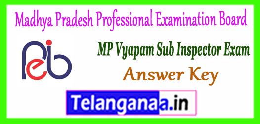 MP Vyapam Madhya Pradesh Professional Examination Board SI Exam Answer Key 2017 Result