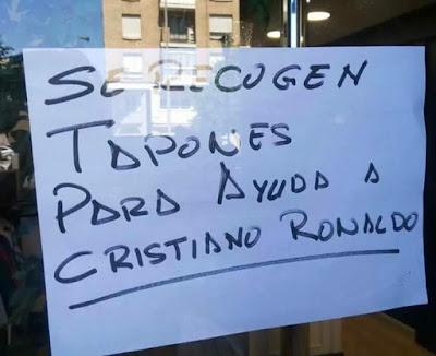 Se recogen tapones para ayuda a Cristiano Ronaldo