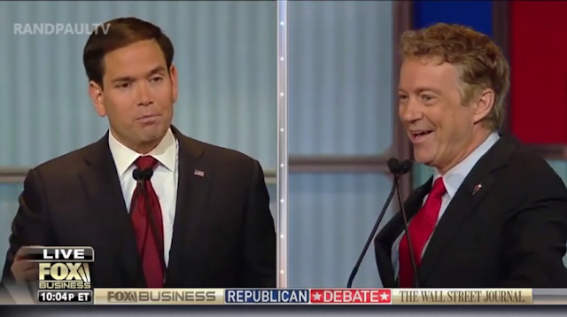 Fox Business Republican Debate Rand Paul isolationist Marco Rubio laughing
