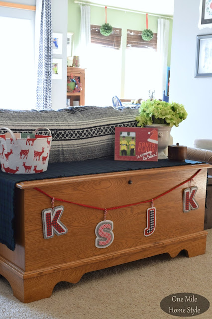 Plaid Letter Garland  | Christmas Home Tour - One Mile Home Style