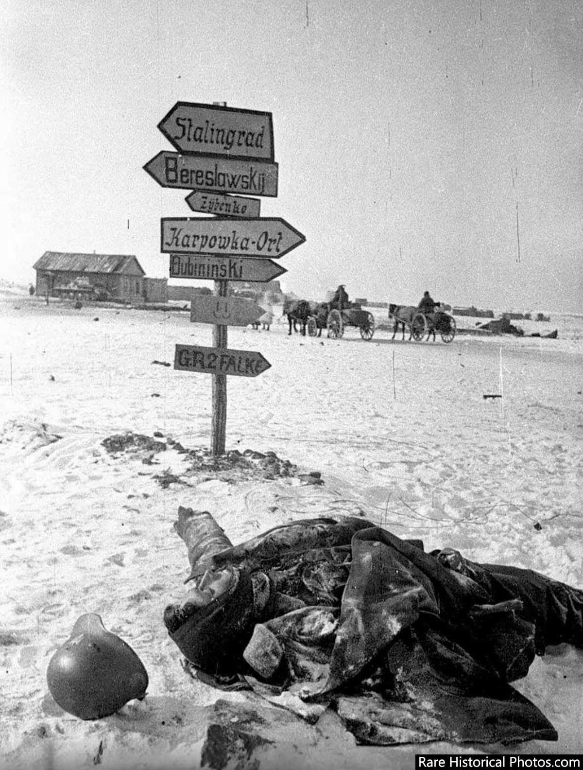 A city too far. Dead German soldier near Stalingrad. 1943.