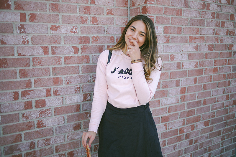 suede skirt outfit, pink sweater, balayage hair