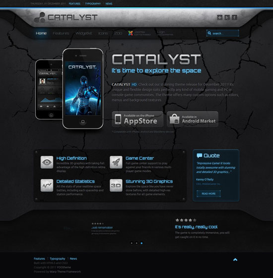 Catalyst v1 0 4 yootheme joomla j2 5 template zx for Yootheme joomla templates free download