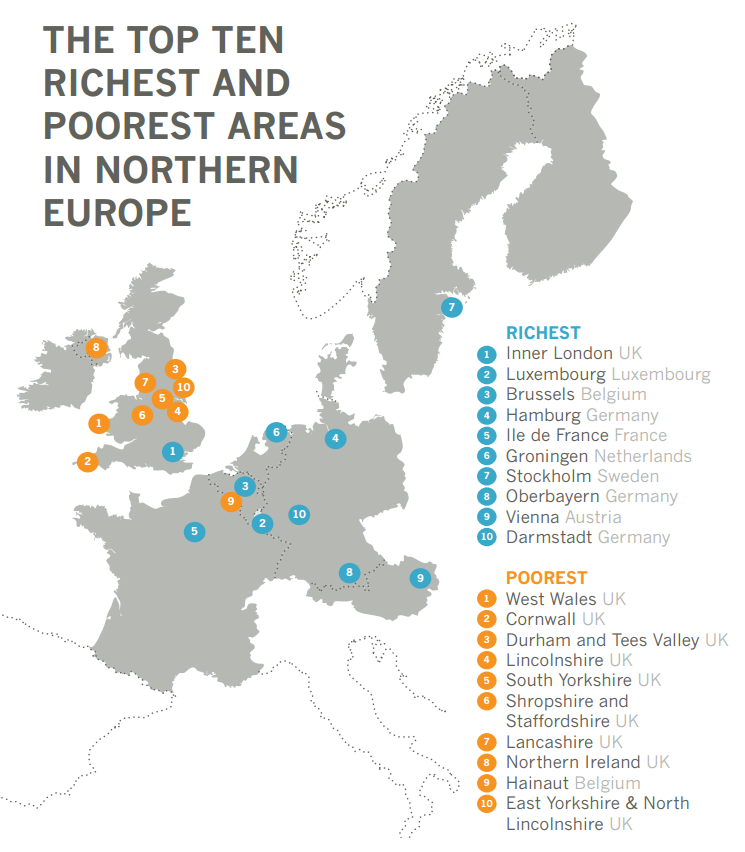 Poorest and richest areas in northern Europe