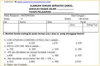 download  Soal Ulangan UTS Matematika KTSP Kelas 5 Semester 1/ Ganjil Terbaru 2016 2016