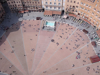 The Piazza del Campo is shaped like a scallop shell