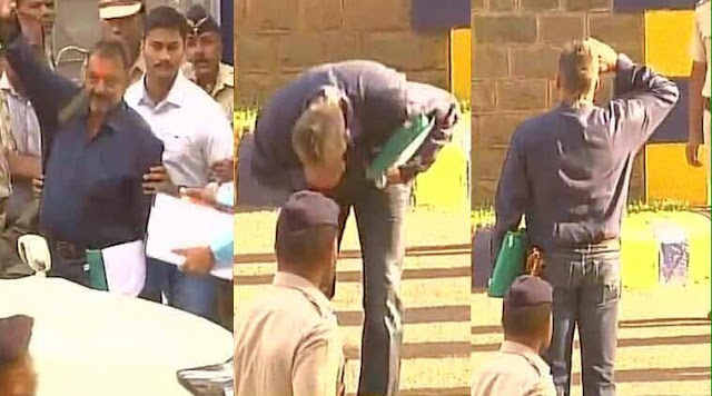 Bollywood actor Sanjay Dutt made a dramatic exit from the Yerawada prison on Thursday after serving nearly 42 months of his five-year sentence.  A video shows a smiling Sanjay emerging out of the jail gate. Clad in blue shirt and jeans, he turns back to touch ground and salute the tri-colour flying on the imposing Yerawada prison building.  Carrying a khaki bag and a green coloured file he gets into a waiting car and drives away. From the Pune airport, he flew to Mumbai in a chartered flight.