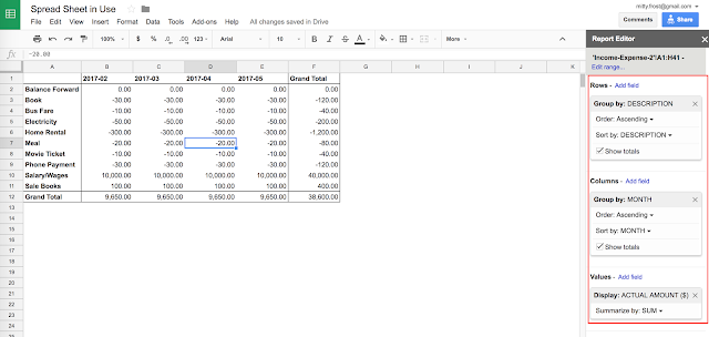 Spreadsheet In Use: Monthly Income & Expense Pivot Report