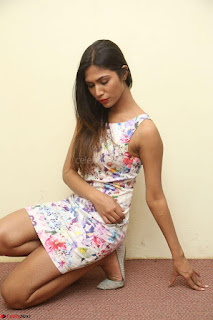 Nishi Ganda stunning cute in Flower Print short dress at Tick Tack Movie Press Meet March 2017 082.JPG