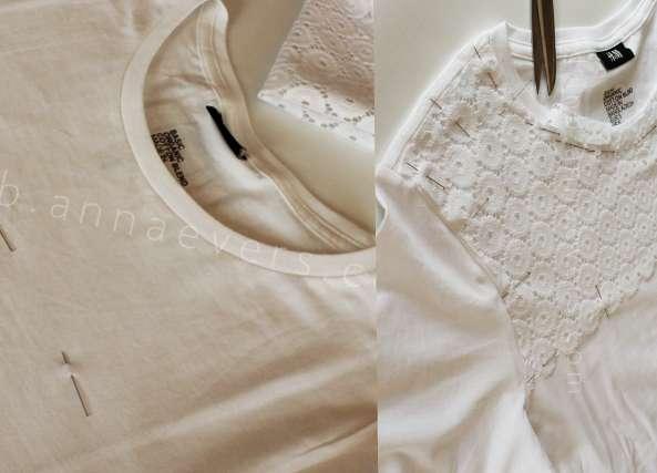 tunear camiseta con encaje, bricomoda, labores, costura