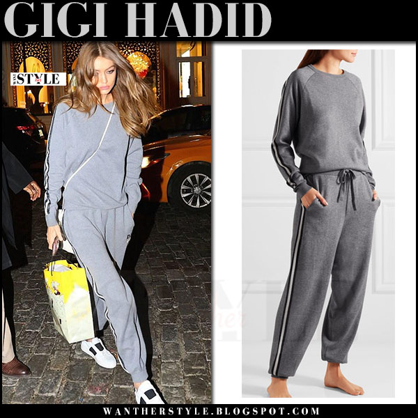 Gigi Hadid in grey sweatshirt and grey sweatpants olivia von halle what she wore streetstyle