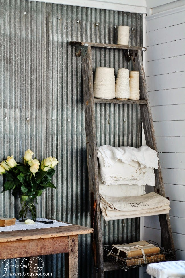 Repurposed Ladder Shelf via Knick of Time