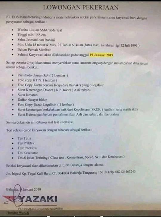 Pt Eds Manufacturing Indonesia Balaraja Kembali Membuka