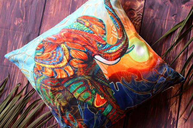 Vintage Elephant Cotton Throw Pillow Case