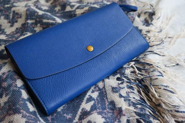 portefeuille bleu fossil