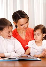 Mother teaching children