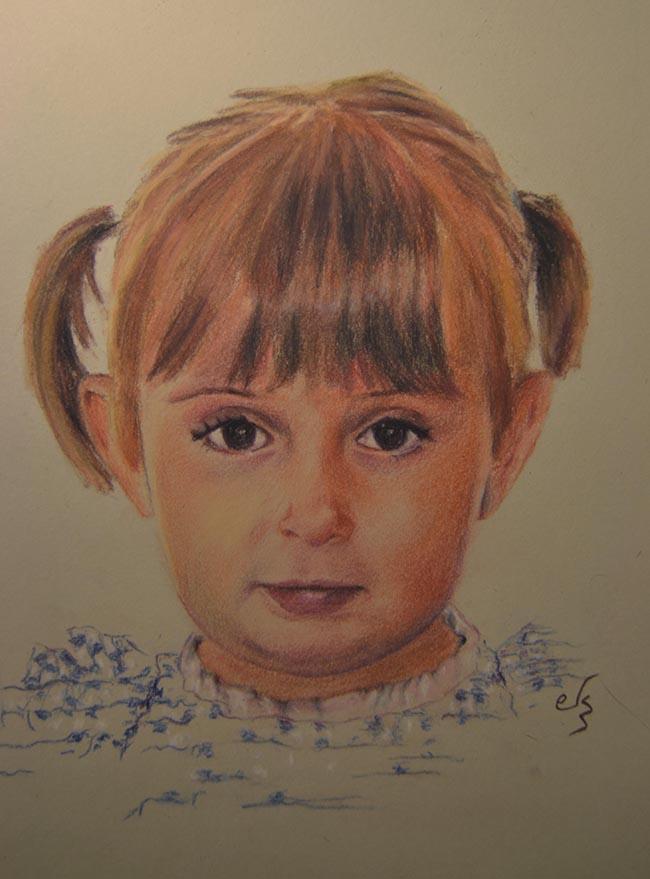 Retrato de una niña con coletas a pastel
