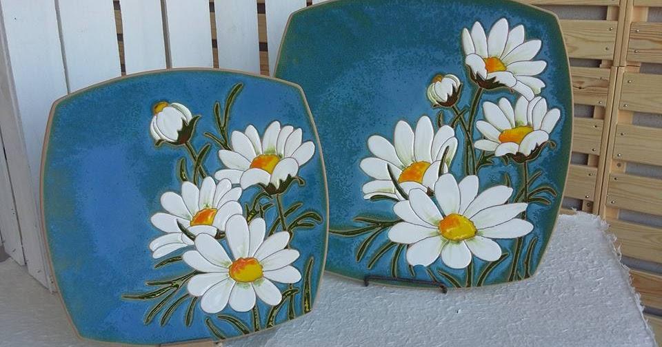 Ceramica come mestiere piatti decorativi per parete margherita - Piatti decorativi ...