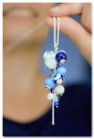sautoir grappe de perles bleues