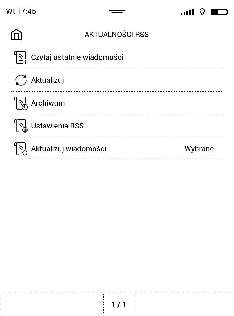 PocketBook Touch Lux 4 – widok ekranu czytnika po pobraniu wiadomości