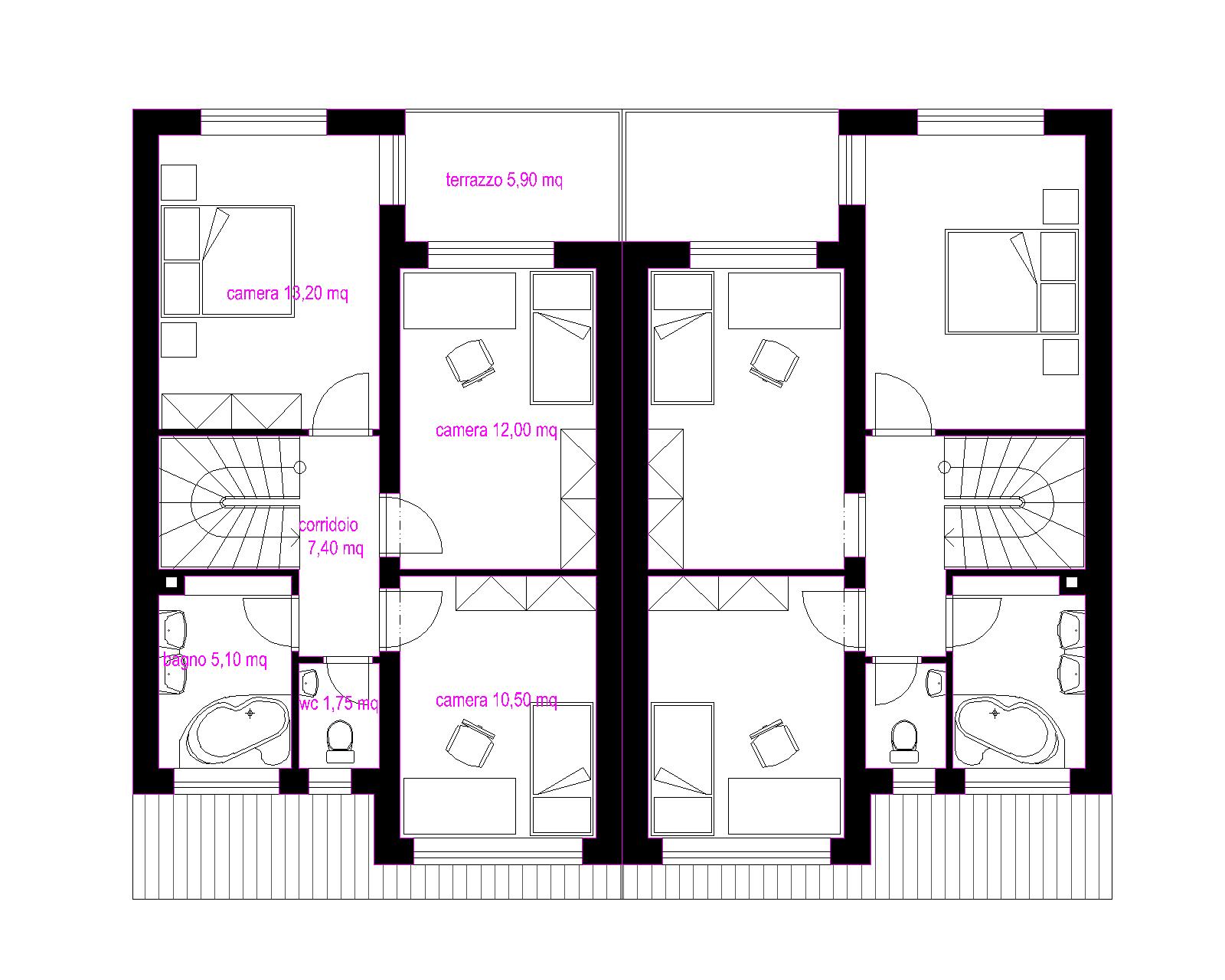 Progetti di case in legno: CASA BIFAMILIARE 2 X 144 MQ
