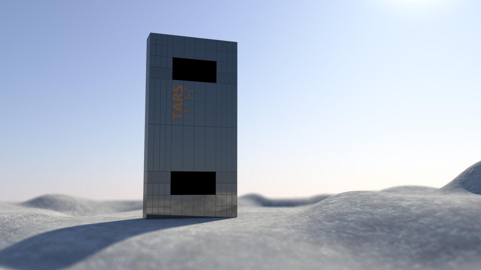 TARS, el robot de <em>Interestellar</em>, haciendo de monolito de <em>2001, una odisea espacial</em>