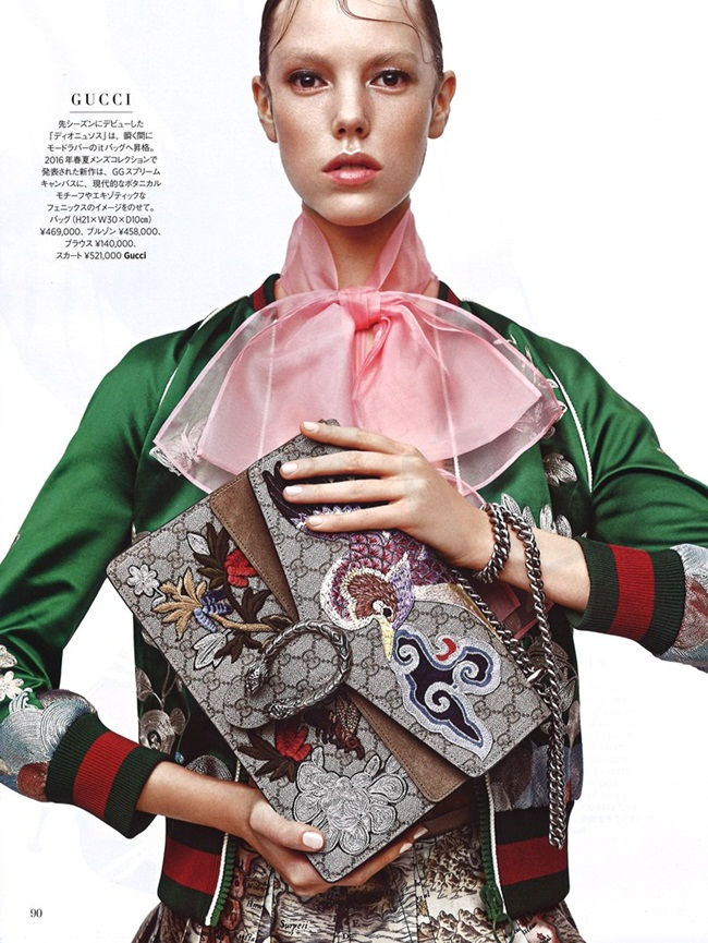 2016 SS Gucci Silk Floral Embroidered Bomber Jacket Editorials