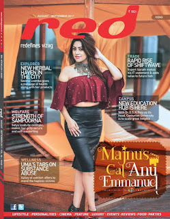 Anu Emmanuel sizzles on the cover page of RED Magazine Hyderabad August 2017