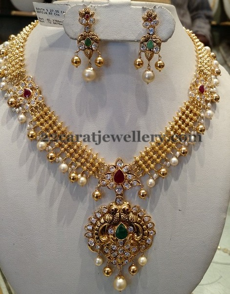 60 Gms Kundan Necklace Antique Pendant Jewellery Designs