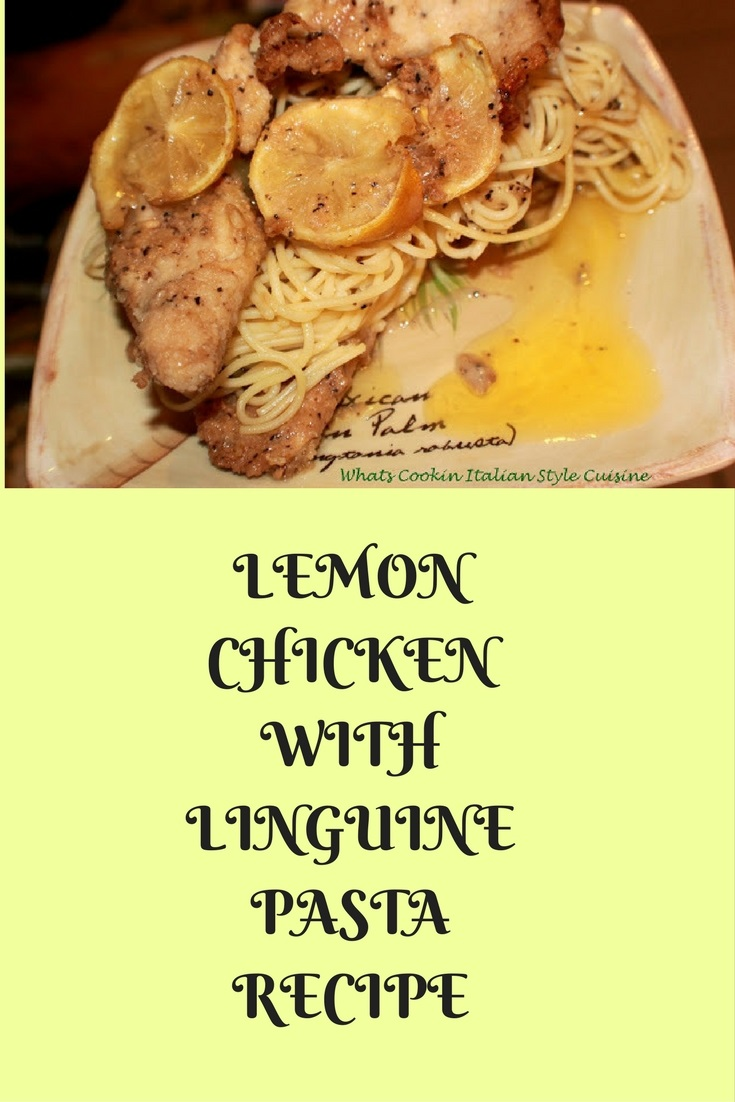 this is a lemon fried chicken with fresh lemons on a bed of linguine pasta. This is an easy quick meal that doesnt require much kitchen time or knowledge, This lemon chicken is a light summer meal and a classic Italian favorite chicken recipeLemon Chicken with Linguine Pasta  is a light sauce with lemon flavoring on the pasta and chicken. Herbs, garlic and spices over this pasta with fresh lemons on this dish with sauteed chicken boneless breast
