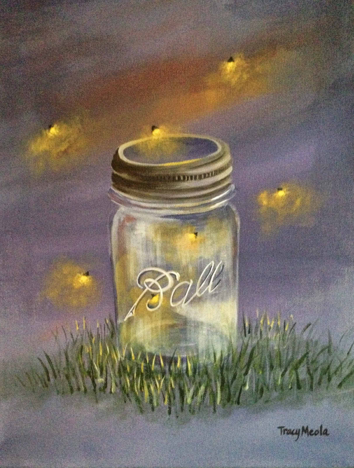 Firefly Jar Art Catching Fireflies Painting Class Mason Jar