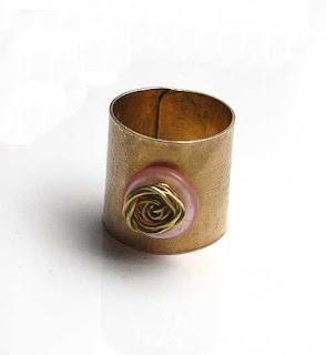 Cuff Ring With Vintage Pink Button, Ring Size 7